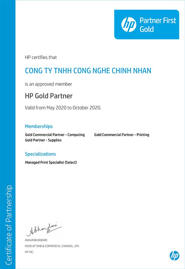 CHỨNG NHẬN HP GOLD PARTNER 2020