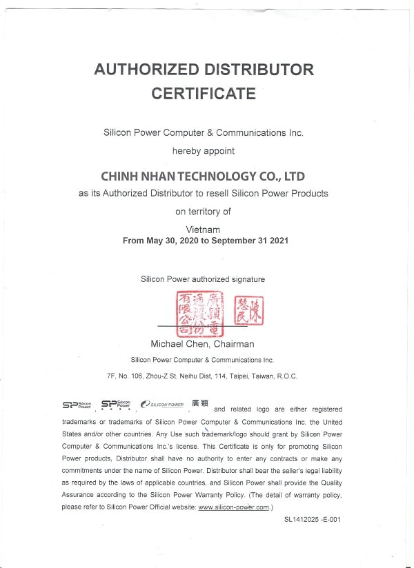 CHỨNG NHẬN SILICON POWER PARTNER 2020