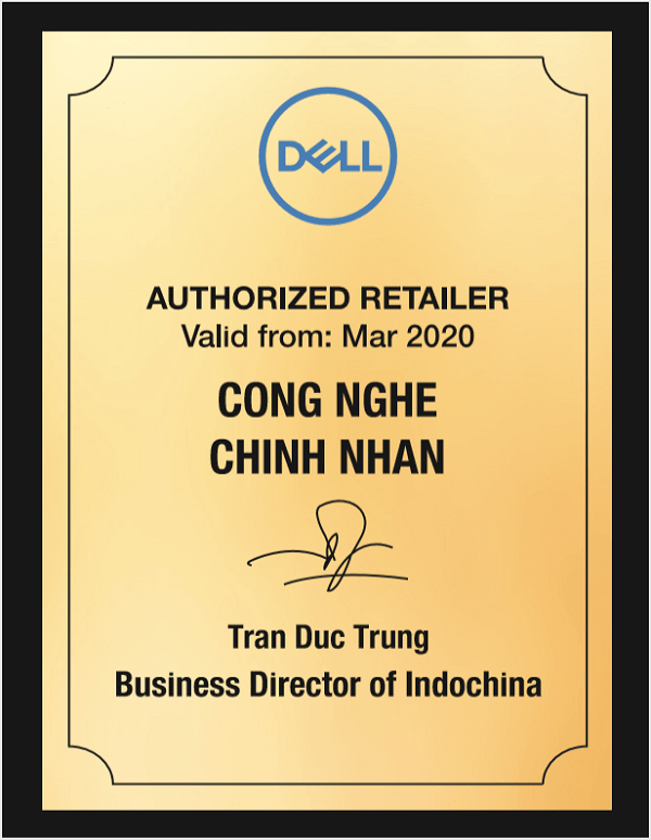 CHỨNG NHẬN DELL RETAILER 2020
