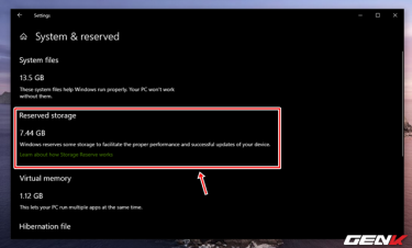 Reserved Storage trên Windows 10 May 2019 có nên vô hiệu hóa nó hay không?