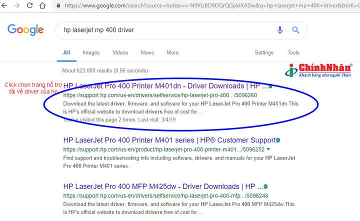 Tìm và tải về driver máy in hp