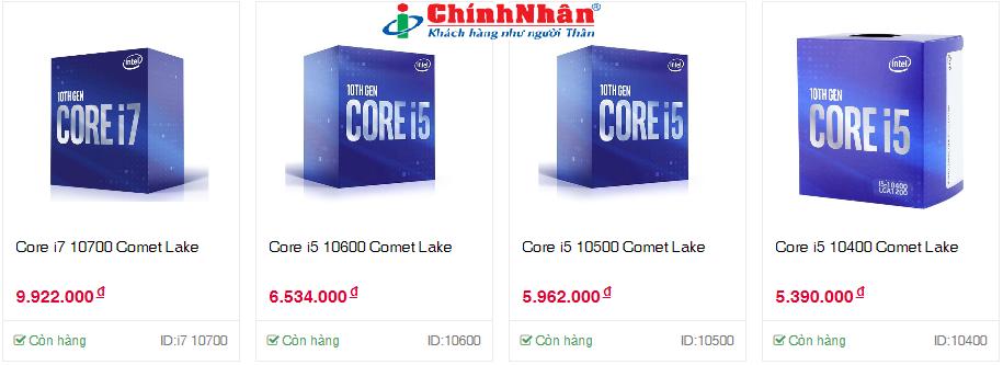 Intel CPU desktop Gen 10th Comet Lake mới tại Công nghệ Chính Nhân - Giao hàng tận nơi