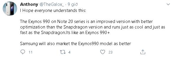 Chip Exynos 990 được trang bị trong Galaxy Note 20 sẽ mạnh ngang Snapdragon 865