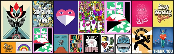 Một số tác phẩm có thể in được thông qua chương trình Windows of Hope, của các nghệ sĩ bao gồm Shepard Fairey, Noma Bar, Jessica Hische, Marylou Faure, Matt Johnstone, Adrian Brandon và những người khác.