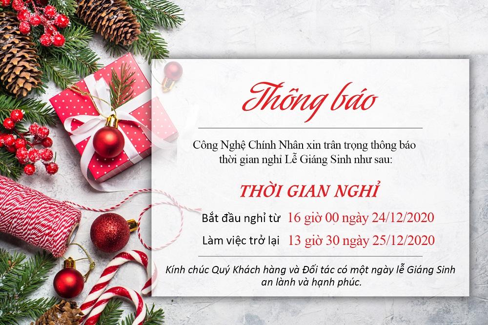 Công nghệ Chính Nhân thông báo lịch nghỉ lễ Giáng Sinh 2020