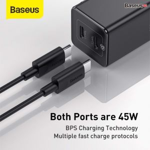 Bộ sạc nhanh đa năng, nhỏ gọn Baseus GaN2 Quick Charger 45W (Type C/ USB Port , PD/QC3.0/ SCP/ FCP/ AFC/ BPS II Quick charger support, with C to C Cable)