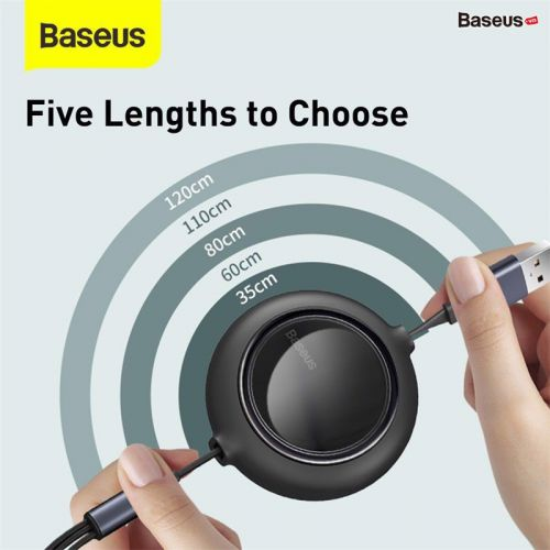 Cáp sạc dây rút 3 đầu thế hệ mới Baseus Bright Mirror 3 in 1 (Type C/ Micro USB/ Lightning, 3.5A/ 1.2m, Retractable Fast Charge & Data Cable)