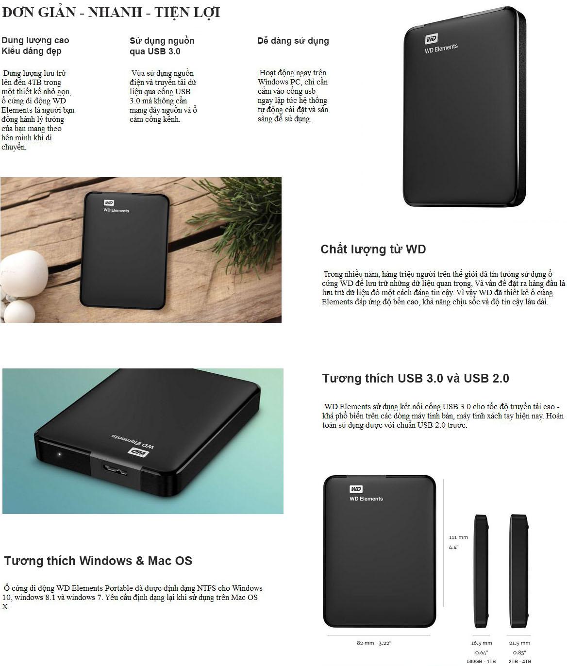 Tính năng ổ cứng WD Elements portable