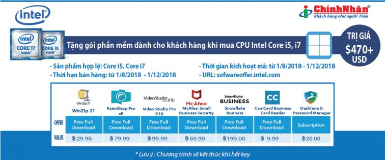 Tặng gói phần mềm trị giá lên đến $470 khi mua CPU Intel Core i5 và i7